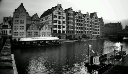 architecture: Architecture in wide angle. Old town district, Gdansk, Poland.