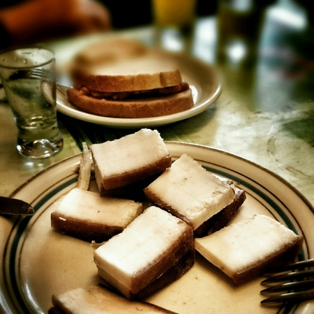speck: Pork fat. Speck is special food in Polish and Russian cuisine. Stock Photo