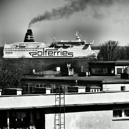 multimodal: Passenger ship entrance to the port of Gdansk, Poland.