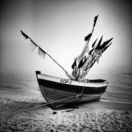 fishingboat: Fishing boats on the beach. Sopot, Poland. Stock Photo