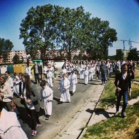 procession: Gdansk Brzezno, Poland - 4 June, 2015 - Religious procession at Corpus Christi Day. Stock Photo