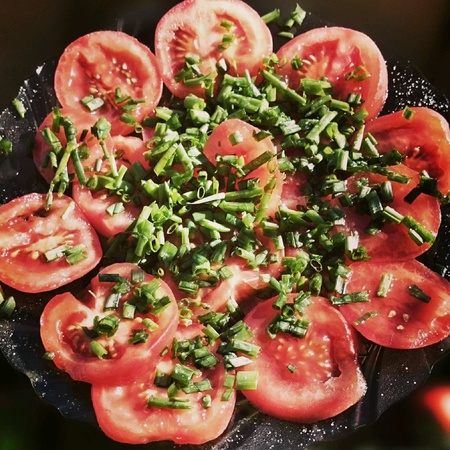 appetiser: Chives on tomatoes, appetiser vegetable food.