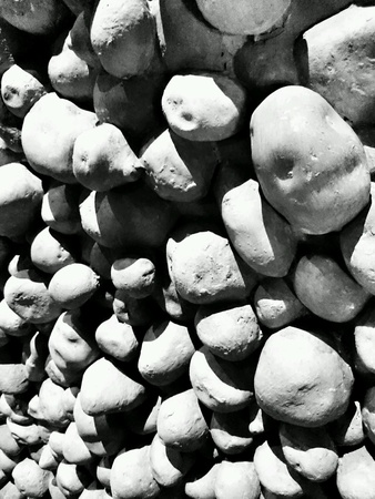 abstract art vegetables: The potatoes wall. Stock Photo