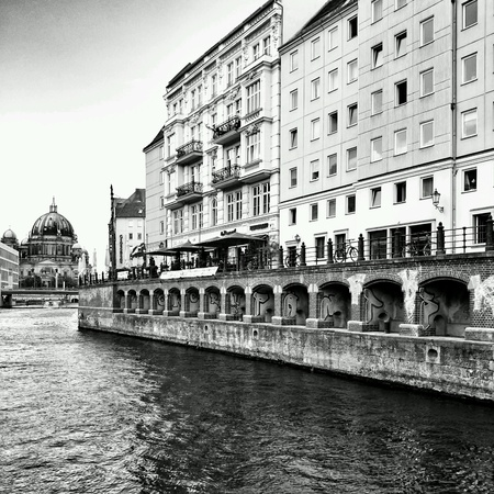 spree: Sightseeing Berlin,  race on the Spree river, Berlin, Germany. Stock Photo