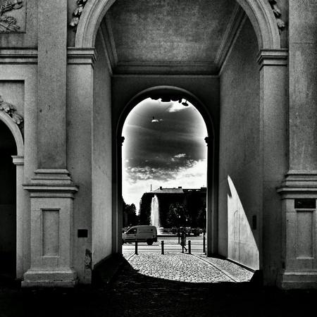 white: Branderburg gate in Potsdam, Berlin, Germany.