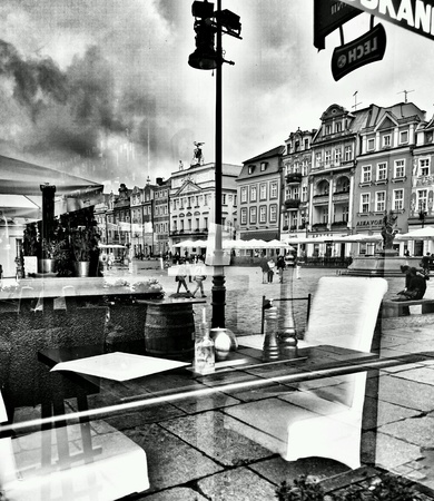 white: Sightseeing Poznan. Old town district. Poznan, Poland.