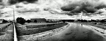 white: Panoramic view on Warta river. Poznan, Poland. Stock Photo