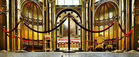 gold: Gold chapel. Interior Catholic Cathedral in Poznan, Poland. Stock Photo