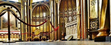 black white red: Gold chapel. Interior Catholic Cathedral in Poznan, Poland. Stock Photo