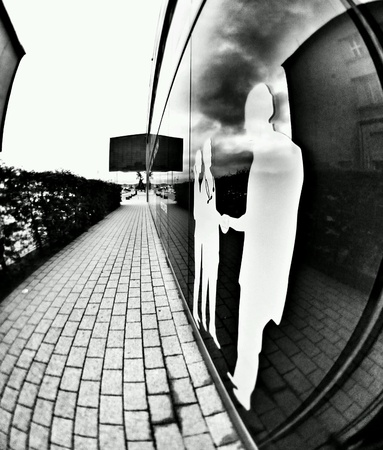 white: City in fisheye view, Gdynia, Poland.