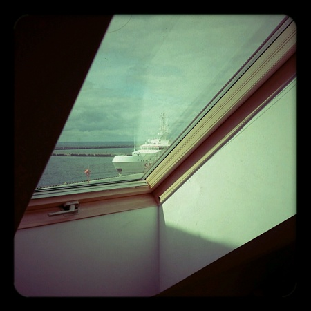 skyscapes: View from the window. Seascape on aesthetic Holga lomography. Stock Photo