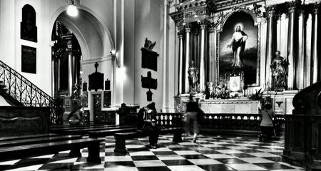 architecture: Catholic religious architecture. Church interior. Jesus Saint Cross church. Warsaw, Poland. Stock Photo