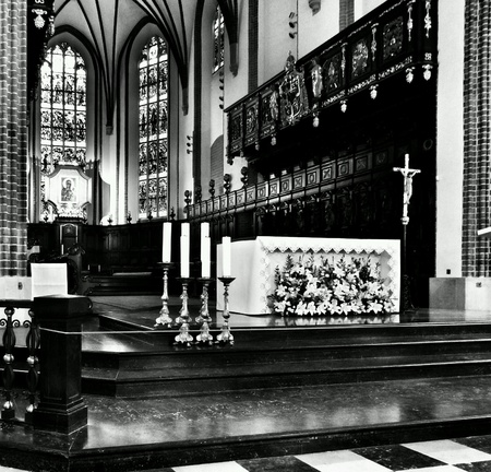 interior: Catholic religious architecture, church interior. Saint John Cathedral. Warsaw, Poland.