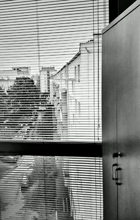 white: View through the window. Gdynia, Poland.