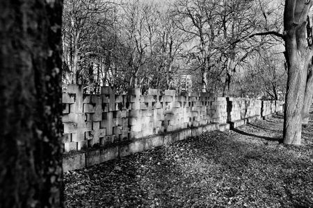 nazism: Cemetery monuments of Zaspa Heroes. Victims of Nazism and World War II. In the cemetery buried the remains murdered Stutthoff, defender of the Polish Post, the border crossing at Szymankowo or Westerplatte, scouts, guerrillas of Pomeranian Griffin.