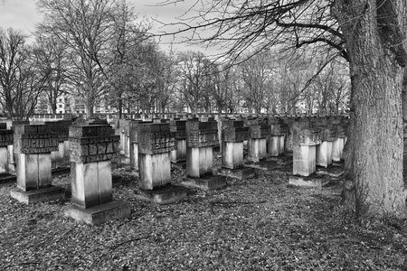 scouts: GDANSK ZASPA, POLAND - NOVEMBER 24, 2015: Cemetery monuments of Zaspa Heroes. Victims of Nazism and World War II. In the cemetery buried the remains murdered Stutthoff, defender of the Polish Post, the border crossing at Szymankowo or Westerplatte, scouts