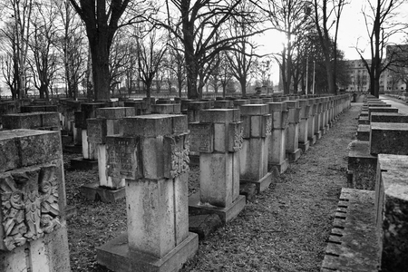 nazism: GDANSK ZASPA, POLAND - NOVEMBER 24, 2015: Cemetery monuments of Zaspa Heroes. Victims of Nazism and World War II. In the cemetery buried the remains murdered Stutthoff, defender of the Polish Post, the border crossing at Szymankowo or Westerplatte, scouts