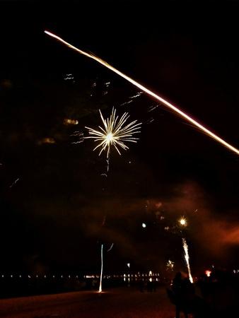 colour: Happy New Year! Vivid colour fireworks on the Polish sky, Gdansk Brzezno, Poland.