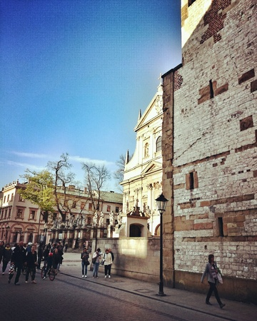 architecture: Sightseeing Krakow. Architecture in old town district. Krakow, Poland. Stock Photo