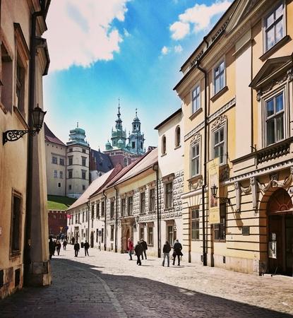 krakow: Sightseeing Krakow. Architecture in old town district. Krakow, Poland. Stock Photo