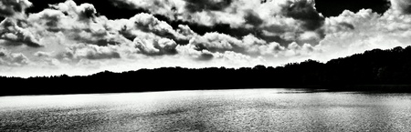 white: Panoramic view on the Kornik lake. Kornik, Poland. Stock Photo