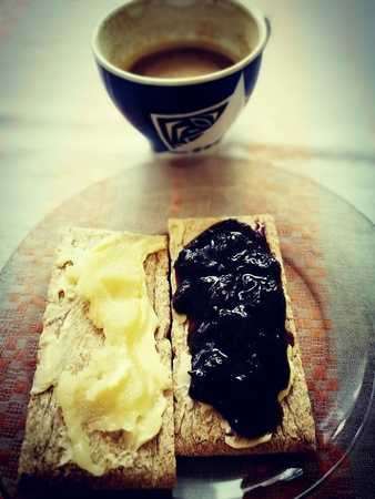 second breakfast: Second breakfast, a cup of coffee and diet bread with a delicious honey and jam.