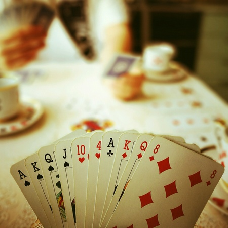 king and queen of hearts: The game of bridge.