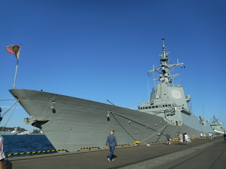 deck cannon: Visiting the team SNMG1 NATO warships in the port of Gdynia, Poland. Stock Photo