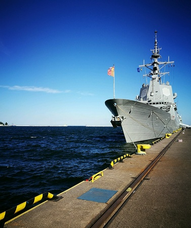 Visiting the team SNMG1 NATO warships in the port of Gdynia, Poland. Stock Photo