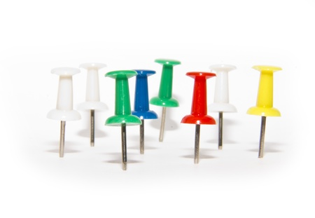 red, blue, green and white pushpins Stock Photo