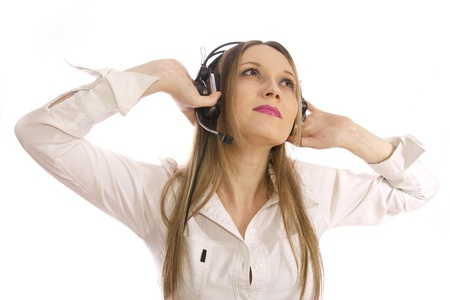 blond girl with headphones photo