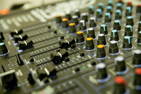 Audio mixer in studio photo