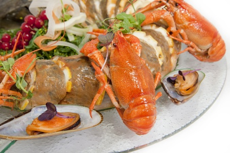 delicious sturgeon with crayfish and redcurrant Stock Photo