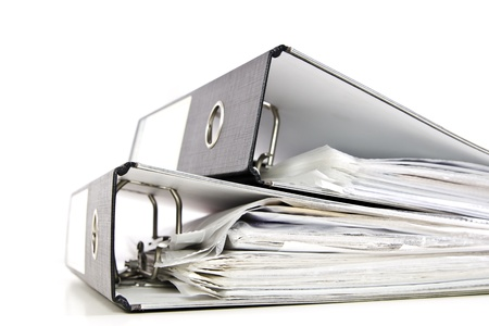 two black office folders with documents isolated on white Stock Photo - 13042020