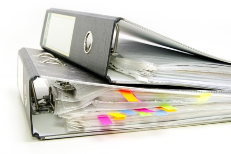files with colored markers  bookmarks  in the office folder photo