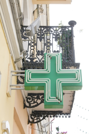 European pharmacy green sign (neon light)