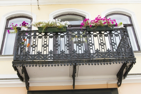 Iron beautiful balcony European traditional architecture photo