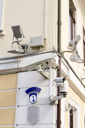 Outdoor security cameras on the street on corner of the house