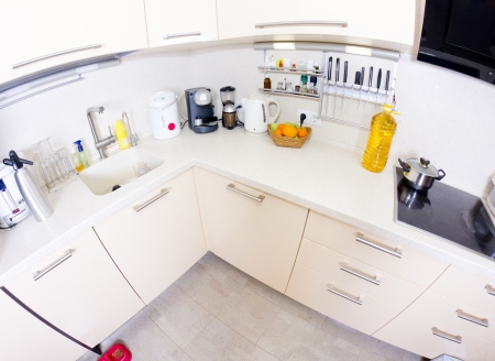 View of a modern kitchen (fish-eye shot) Stock Photo