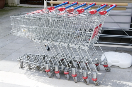 Shopping carts parking near supermarket photo