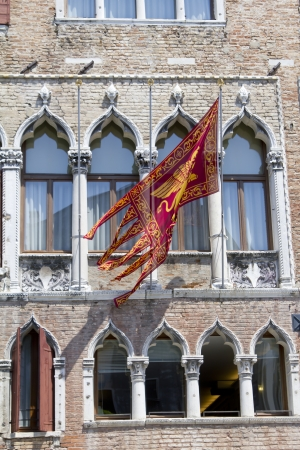 Flag of Venice republic on the facade