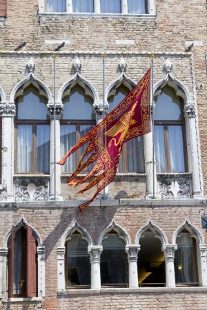 Flag of Venice republic on the facade
