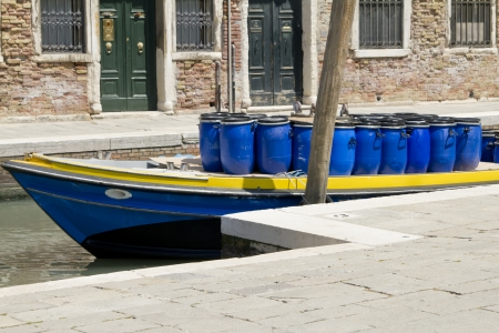 Moored private boats in Venice