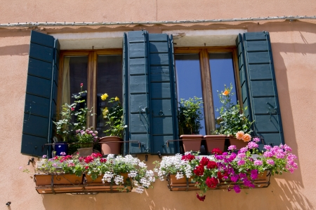 Windows and old wooden shutters Stock Photo
