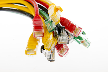 network cables RJ45 close up Stock Photo