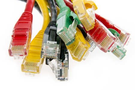Color network cables RJ45 close up photo