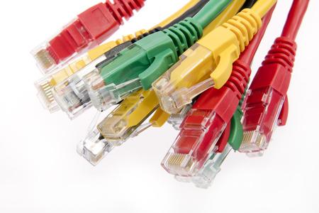 Color network cables RJ45 close up