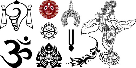 hinduism: Signs and symbols of East and India Illustration