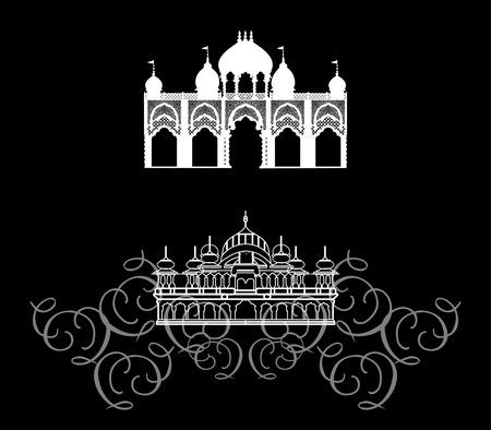 east indian: Templo - arquitectura oriental, India Vectores