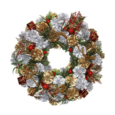 a multifarious and traditional christmas wreath isolated on a white background
